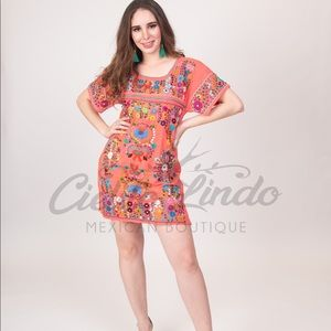 Mexican Coral Dress Handmade Heavily Embroidered